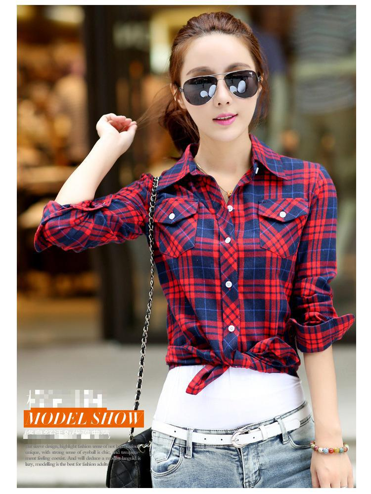 2017 New Casual Button Down Lapel Neck Plaids Checks Flannel Shirts Women  Long Sleeve Tops Blouse free shipping S 144-in Blouses   Shirts from Women s  ... 4ef9f104f90d