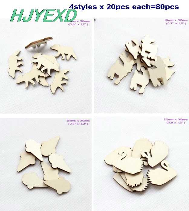 "(20pcs each) 30mm Natural Blank Wooden Brooches (No pin) Reindeer Baby Bear Ice Cream Swan Party Ornaments 1.2""-ZH22"
