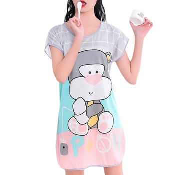 Short Sleeve  Cartoon Pattern Nightdress