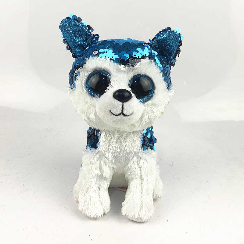 Ty Beanie Boos Big Eyes Two-Color Sequins Throwing Owls Husky Rabbit Cattle  Lion Unicorn ecef436aec6a