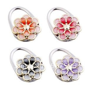 New Magic 4pcs Wholesale Fashion handmade Acrylic resin beads Flower purse hook  handbag holder bag hanger jewelry free shipping