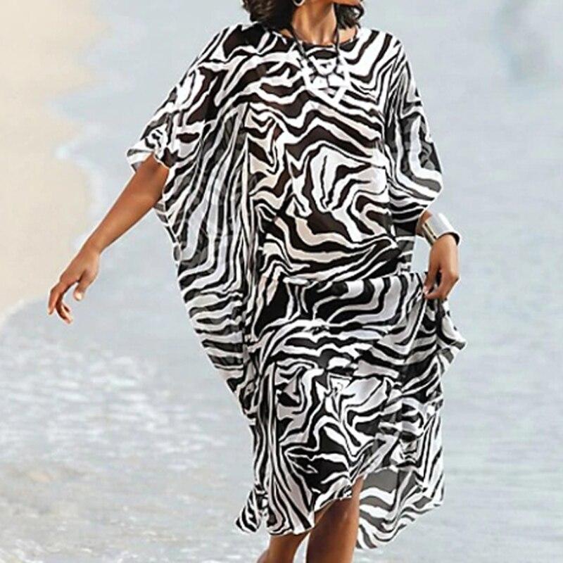 Image 2 - Chiffon Beach dress Cover up 2020 Tunics for Beach  Plus size Beach cover up Pareo de Plage Saida de Praia Beach SarongsCover-up   -