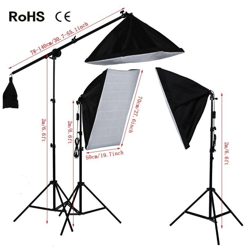 Photography Studio Set:135w photographic lighting bulb&50cm*70cm single E27 Lamp holder soft box&Cantilever