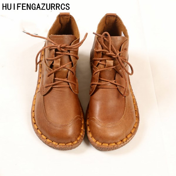 HUIFENGAZURRCS-Female art retro real leather Round Flat Boots,pure handmade shoes comfortable soft bottom all-match casual boots