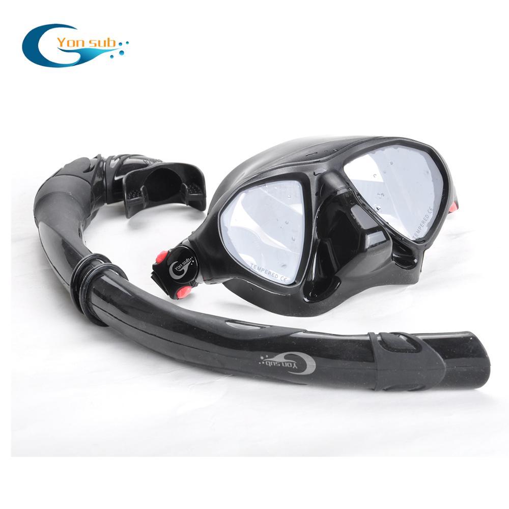 Masque de plongée sous-marine professionnel à faible Volume Tube respiratoire en Silicone masque de plongée en apnée pour la chasse sous-marine