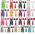 17 Cores Disponíveis 3 PCS Escola Meninos Crianças Garoto Suspender Gravata Gravata Borboleta Cor Pura Artesanal Pescoço Set Tie TR0001