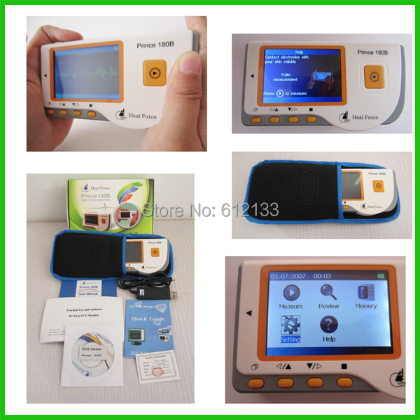 Prince 180B Handheld Easy ECG Portable LCD EKG Heart Monitor Electrocardiogram Software USB CE approvedPrince 180B Handheld Easy ECG Portable LCD EKG Heart Monitor Electrocardiogram Software USB CE approved