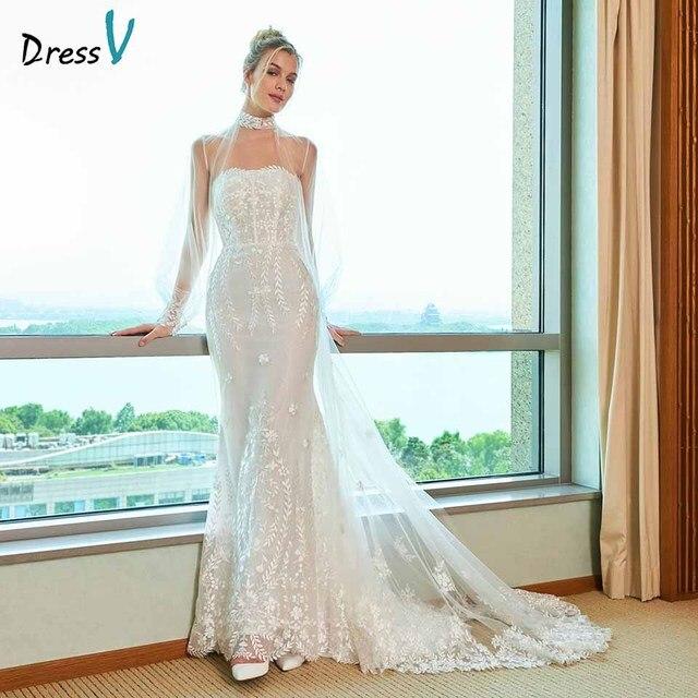 Dressv elegancka suknia ślubna syrenka bez ramiączek watteau pociąg aplikacje koronkowa długość podłogi suknie ślubne na zewnątrz i suknie ślubne do ślubu kościelnego