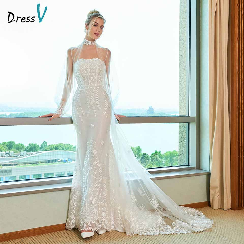 Dressv elegant mermaid wedding dress strapless watteau train appliques lace floor length bridal outdoor&church wedding dresses