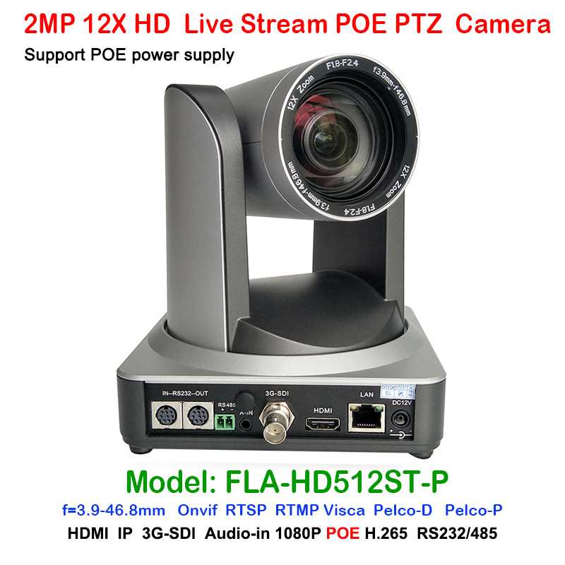 2MP Professional Telemedicine 12X Optical Zoom Live Streaming Onvif PTZ POE IP Camera with Simultaneous HDMI and 3G-SDI Outputs 2mp 1080p60 50 ptz ip streaming onvif poe camera visca pelco 20x optical zoom tripod with simultaneous hdmi and 3g sdi outputs