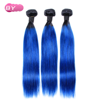 Bling Hair Brazilian Pre Colored Raw Straight Hair 1B Blue Color 3bundles Remy Human Hair 12