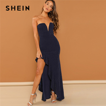SHEIN Navy Going Out Asymmetrical Ruffle Trim Bandeau Sheath Strapless Sleeveless Maxi Dress Women 2018 Summer Sexy Dresses
