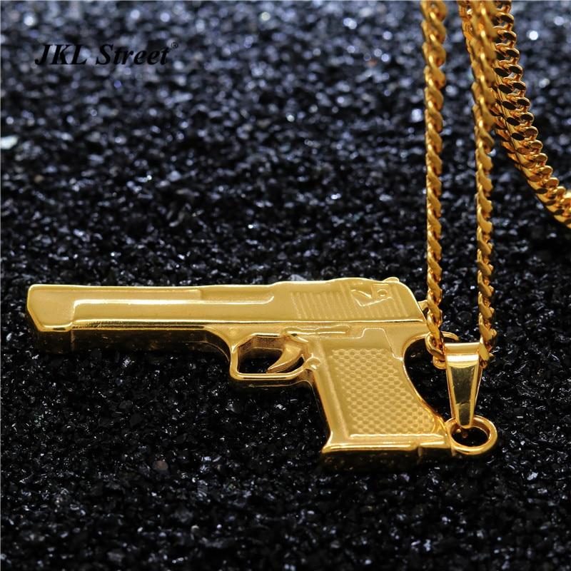 JKL золото Цвет Спорт Desert Eagle Пистолет пистолет кулон solild S. сталь армии Цепочки и ожерелья для Для мужчин Панк ювелирные изделия Обувь для мал...