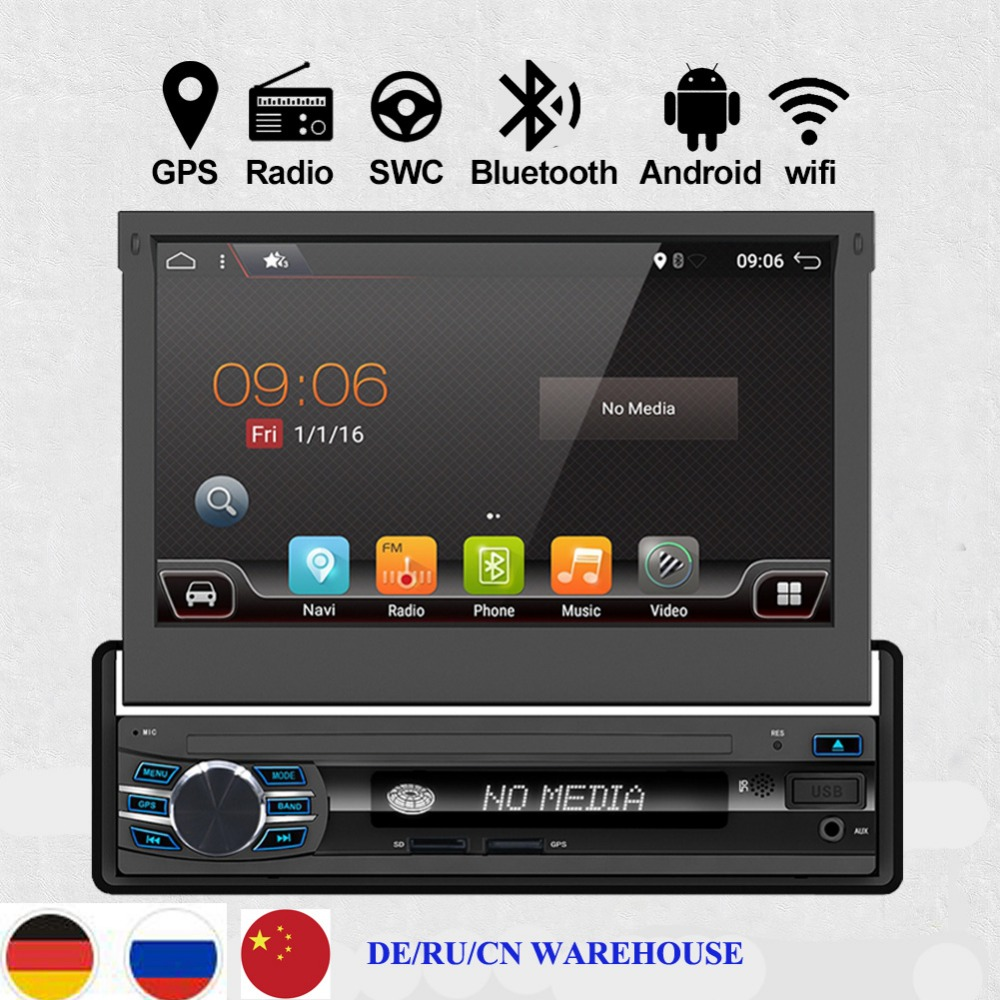 1din 7 Universal car multimedia player Android 6 0 Quad Core Car radio GPS Navigation radio