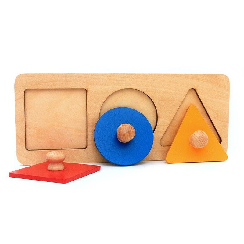 Casa Dental bebé Montessori materiales juguetes de madera matemáticas juguetes geometría forma Insets sets 3 juegos rojo azul amarillo triángulo cuadrado perillas
