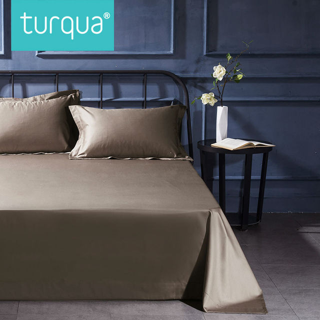 Turqua High Thread Count 100 Egyptian Cotton Solid Style Bedding Sheet Environmental Friendly Flat