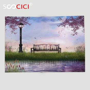 Custom Soft Fleece Throw Blanket Lake House Decor Bench on Flowing River with Lightpost Crescent Moon Lavender Trees and Grass