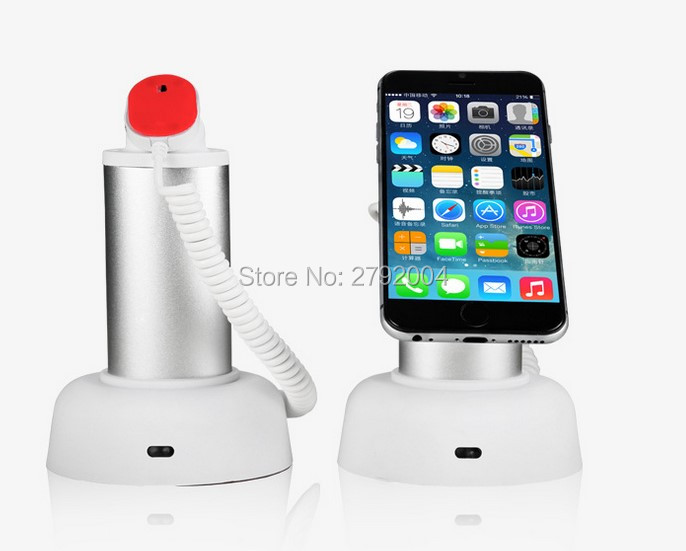 10 pcs/lot Clamp Anti-lost Display Alarm Mobile Phone Security Recoiler Holder w Charging for Iphone/ Android Phone Security wholesale price mobile phone anti theft alarm display stand with charging for exhibition