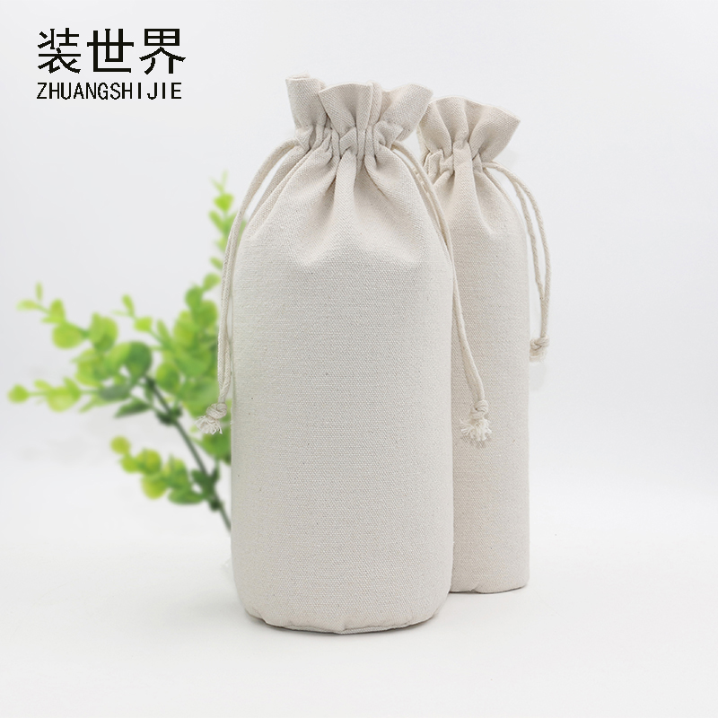 1 Pcs 13*25cm Custom Logo Printed Cotton Canvas Bags Drawstring Bag Food Bottle Pouch Bag