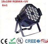 4PCS LED RGBWA UV 6IN1 18X18W LED Par light Aluminum Black Housing 90V 240V