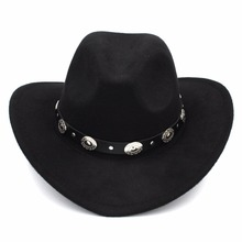 Mistdawn Womem Men Wool Blend Western Cowboy Hat Wide Brim Cowgirl Jazz Sombrero Cap Leather Band ethnic style western cowboy hat women s wool hat jazz hat western cowboy hat new