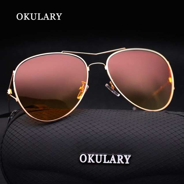 1e76012726d OKULARY Classic Retro Pilot Glasses Colorful Lenses Polarized Sunglasses  Men Women Brand Design Driving Night Vision Eyewear