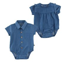 Toddler Kids Baby Girls Infant Clothes Summer Denim Jumpsuit Blue Short Sleeve Outfits Cute Infant Clothing Roupas De Bebes(China)