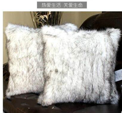 Plush fur white black tip imitation snow fox sofa hug pillow case Office cushion set crib head pillow