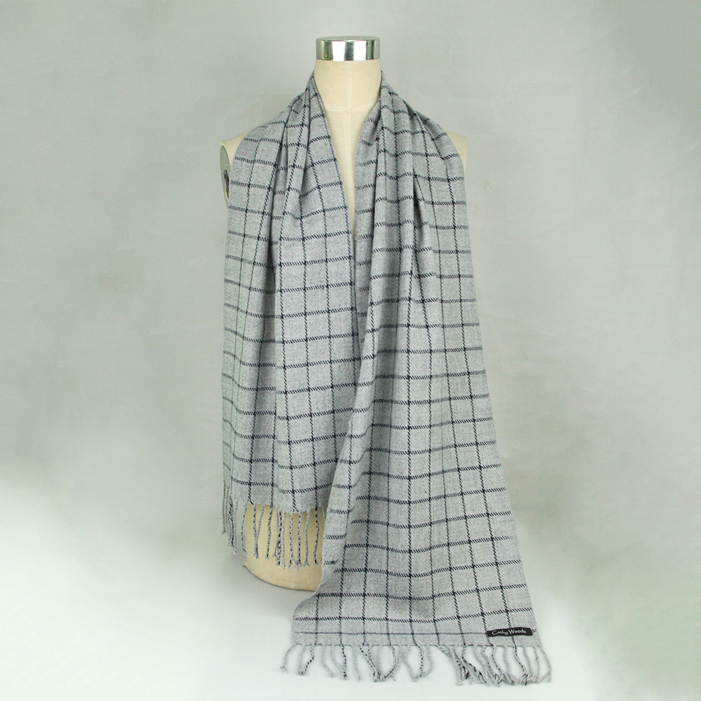 CW imitation cashmere lattice scarf tassel shawl for women men winter warm 180 * 30CM