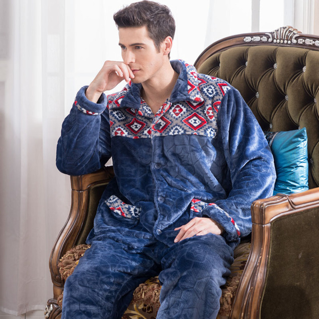 Mens Pajamas Full Pajamas Rushed Sale Real Pyjamas Men Mens 2016 Autumn And Winter With Thick Thickened Coral Warm Clothes