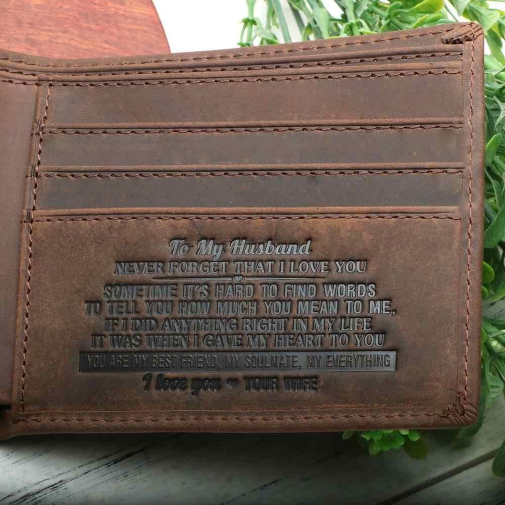 Portfel dla mężczyzn, grawerowane skórzane RFID Biflod minimalistyczny przedniej kieszeni torebka prezent dla męża na urodziny, rocznicę, christmasDay.