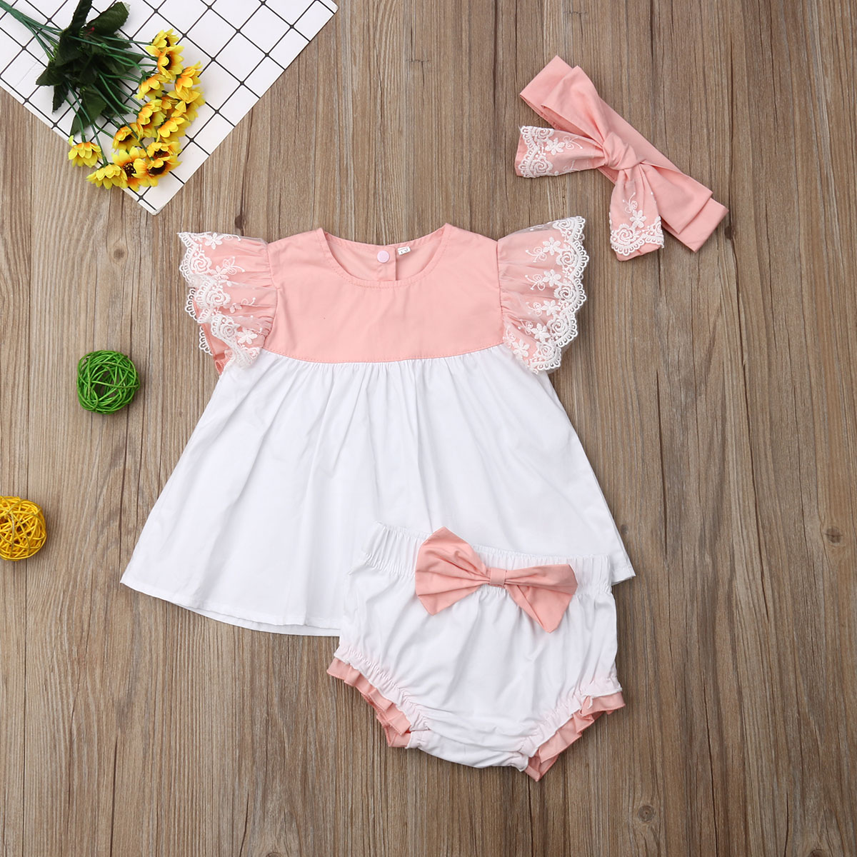 Emmababy Newborn Baby Girls Clothes Fly Sleeve Tops  Shorts Headband Bow Knot 3PCS Outfit Set