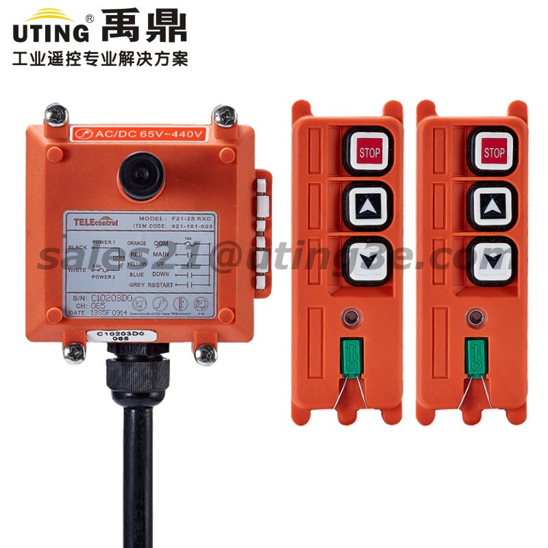 Industrial Wireless Crane Remote Control F21-2S for Hoist Crane 2 Transmitter 1 Receiver Electric Hoist Ramote Controls AC DC ac65 440v industrial remote control wireless hoist crane remote control switch 1 receiver and 1 transmitter push button switch