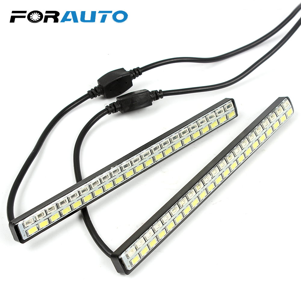 DRL לבן ואמבר רכב LED בשעות היום ריצת אורות רכב סטיילינג הפעל מחוון אות אור 2 יחידות 42 LED שבבים