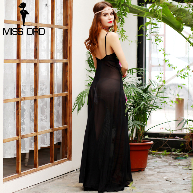 Missord 2017 Sexy deep-V   sleeveless embroidery see through maxi dress