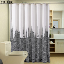 Waterproof Bathroom Curtains White Black Polyester Shower Curtain Letters Tower Modern Fabric Customized bath curtain waterproof eiffel tower floral polyester shower curtain