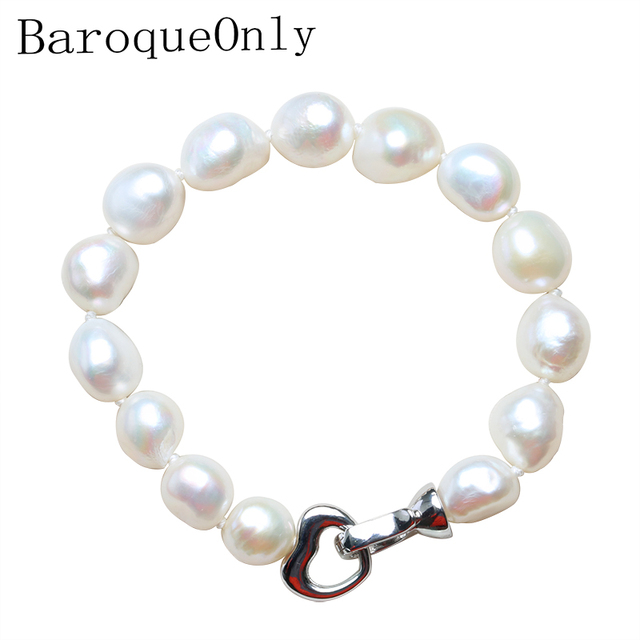 BaroqueOnly 100% Tự Nhiên Ngọc Trai Nước Ngọt Vòng Đeo Tay cho Phụ Nữ Móc Trái Tim Cổ Điển Thực Sự Đơn Giản Vòng Đeo Tay Ngọc Trai 10-11 MM TUYỆT VỜI GIÁ
