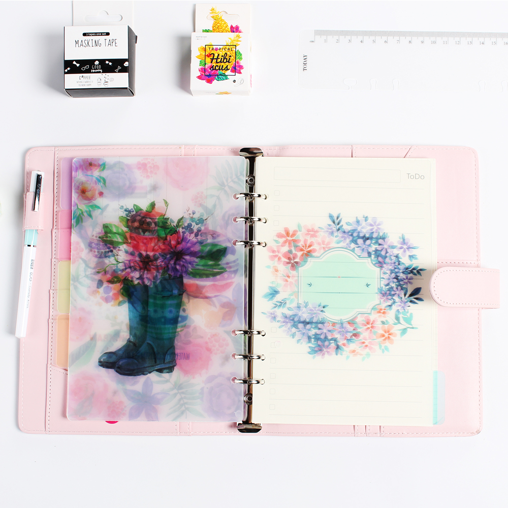 New Cute Original Creative PVC Cartoon Flowers Series 6 Holes Index Paper/dividers Set For Spiral Diary Planner Notebooks A5 A6