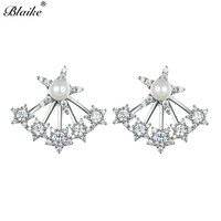 Blaike Personalize Pearl Stars Real 925 Sterling Silver Stud Earring For Women New Fashion Double Earring Wedding Party Jewelry