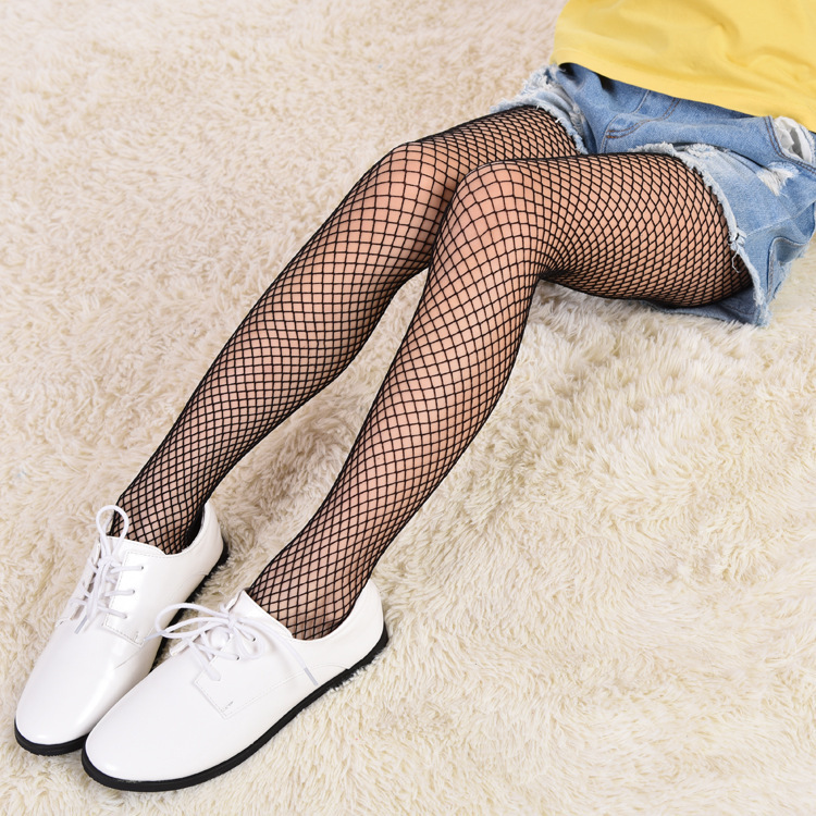 Summer Kids Baby Girl Stockings Black Skin White Mesh Fishnet Net Pattern Pantyhose Tights Stockings For 7-15 Years Old