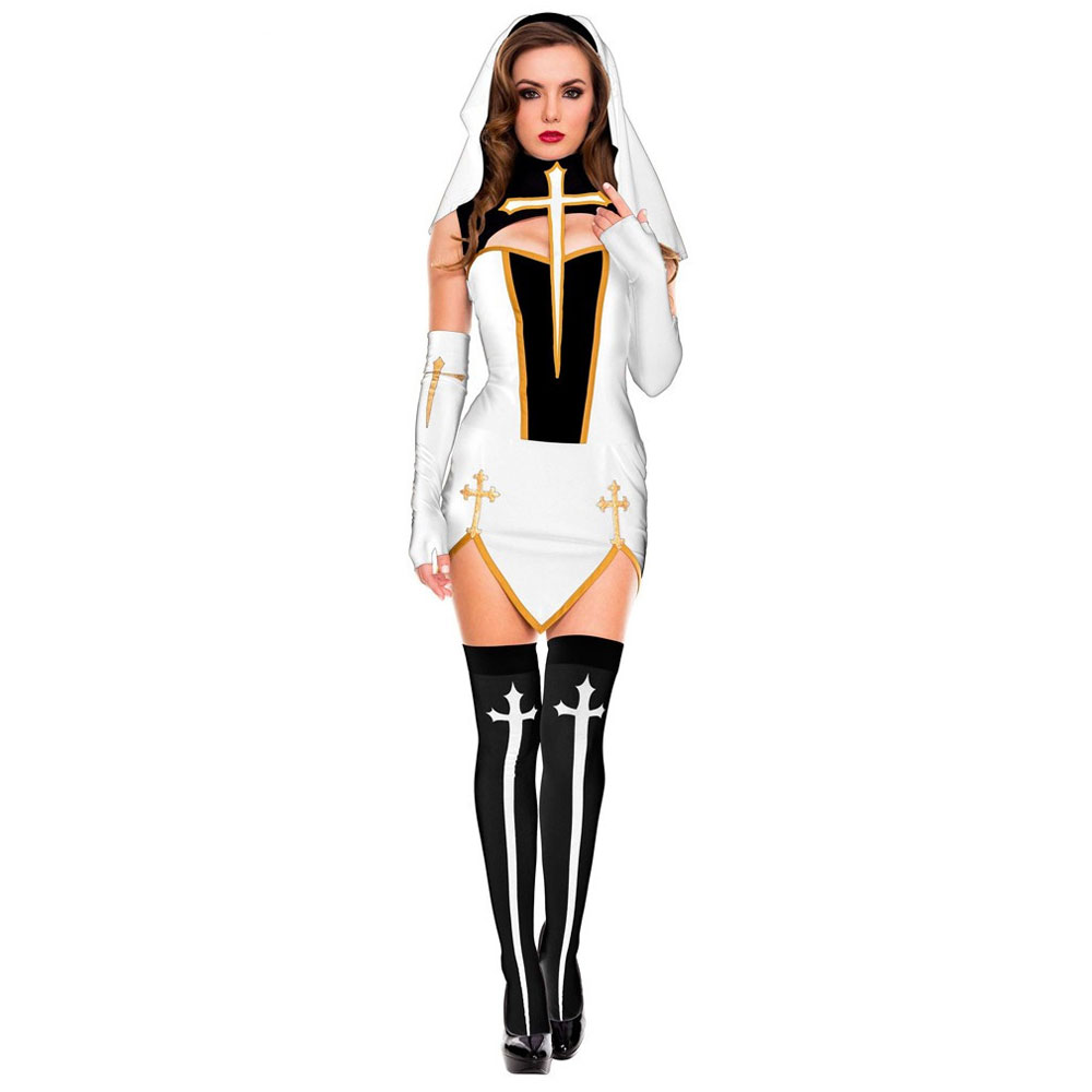 Umorden Womens Bad Habit Sexy Nun Costume White with Stockings Sister Cosplay Halloween Easter Mardi Gras Fancy Party Dress