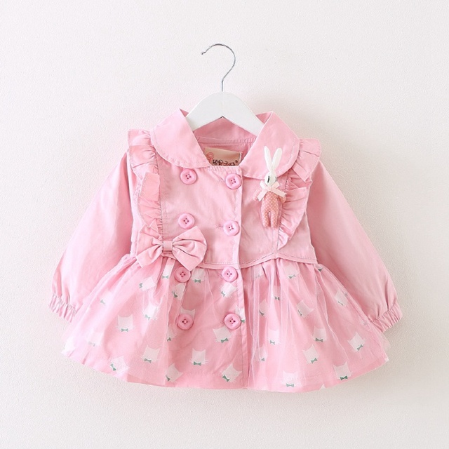 Fashion Spring Autumn Girls Double Breasted Princess Cardigan Infant baby kids Coat Children Outwear Coats Belt Trench S2882