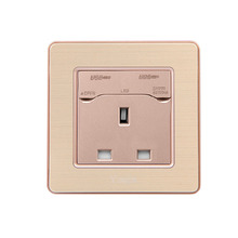 86 Type British Three  Hole Wall Socket Power Panel 13A Standard With Usb2.1A AC 110~250V