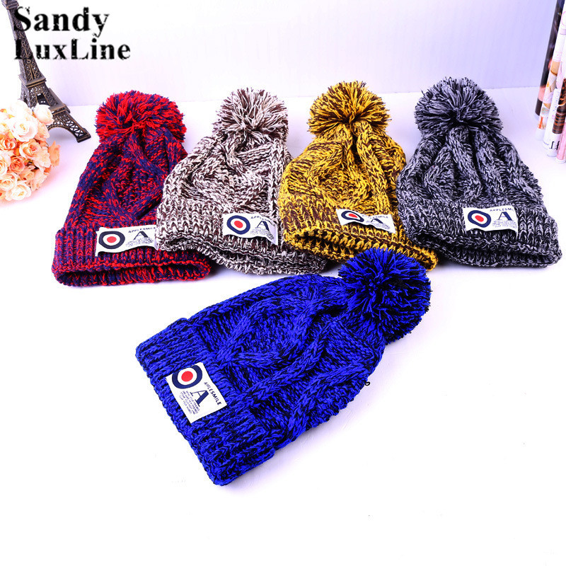 5 Colors Winter Women Men Hats Caps Blue Coffee Red Thick Warm Celebrity Knit Crochet Knitted Winter Warm Hat Beanie Cap Hot 033 hot winter beanie knit crochet ski hat plicate baggy oversized slouch unisex cap