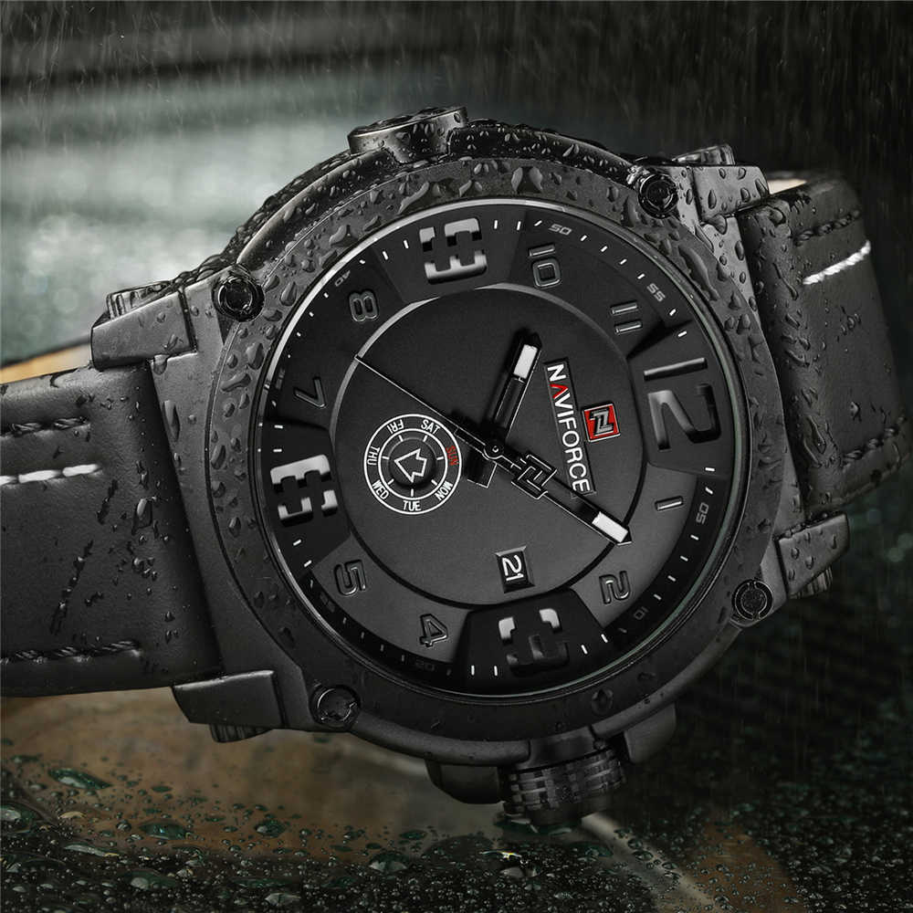 086e149fb NAVIFORCE Luxury Brand Military Watches Men Quartz Analog 3D Face Leather  Clock Man Sports Watches Army