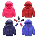 2016 New Baby Boy and Girl Thick Warm Down Jackets Kids Fashion Hooded Down Coat Outerwear Children's Clothes 7 Colors Hot Sale
