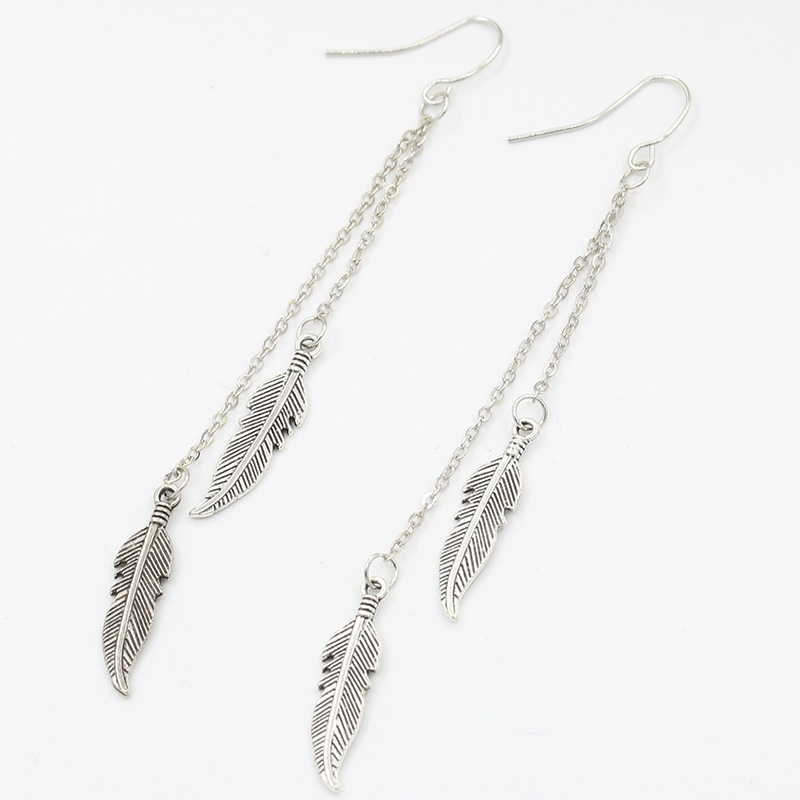 Hot Sale Antique Silver Gold Color Long Chain Hanging Earrings Tassel Feather Boho Pending Earrings For Women Ear Jewelry Gift