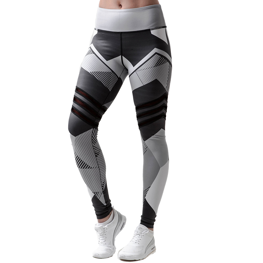 Geometric Print Stocking Women Sport Pants Running Jogging Fitness Yoga Fitness Elastic Gym Sport Girl Wk024