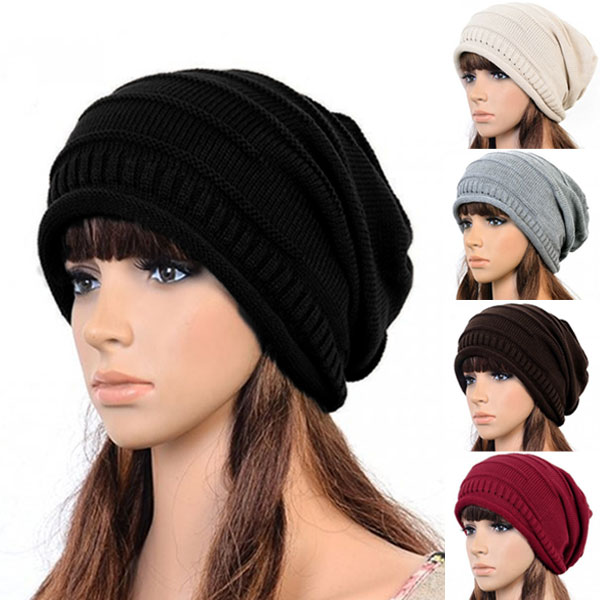 Hot Winter Casual Beanies Hats For Women Knitted Solid Hip-hop Slouch Skullies Bonnet Cap Hat Gorro Baggy Warm Beanies Femme 2017 new women ladies cable knitted winter hats bonnet femme cotton slouch baggy cap crochet beanie gorros hat for women