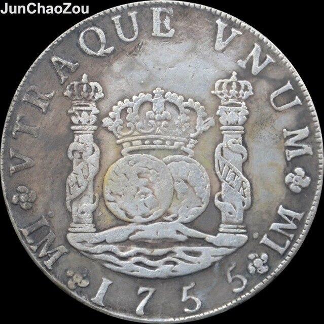 Peru 1755 8 J Reales Messing Versilbert Replik Münzen In Peru 1755